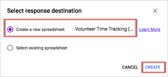 use google forms and spreadsheets to track volunteer time track it