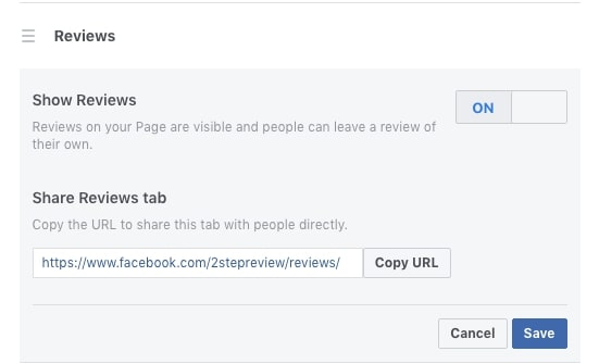 toggle facebook reviews off