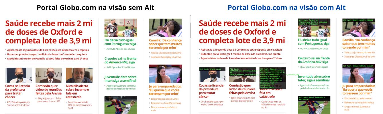 Duas imagens do portal Globo Play monstrando o uso do Atributo Alt