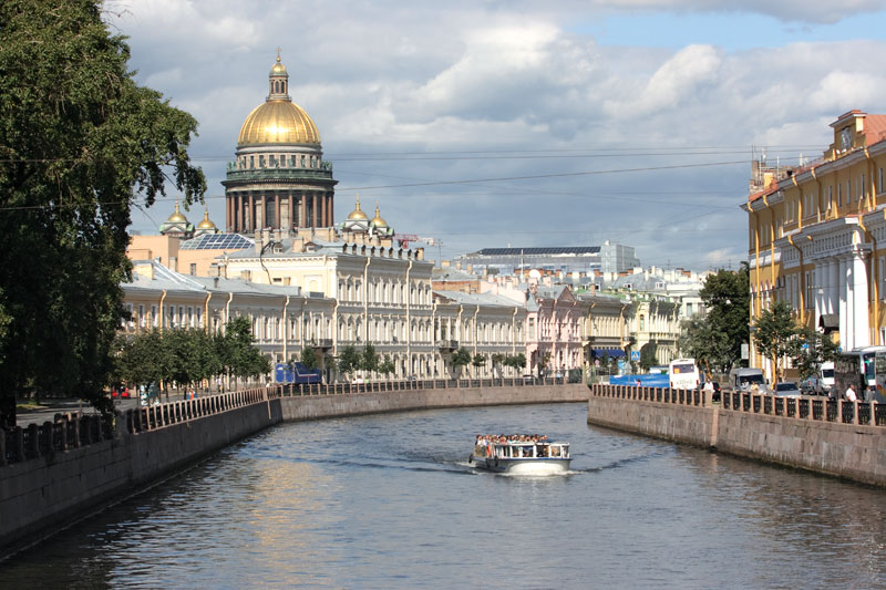 Saint Petersburg, Russia, embankment of the Neva river, ferry tours