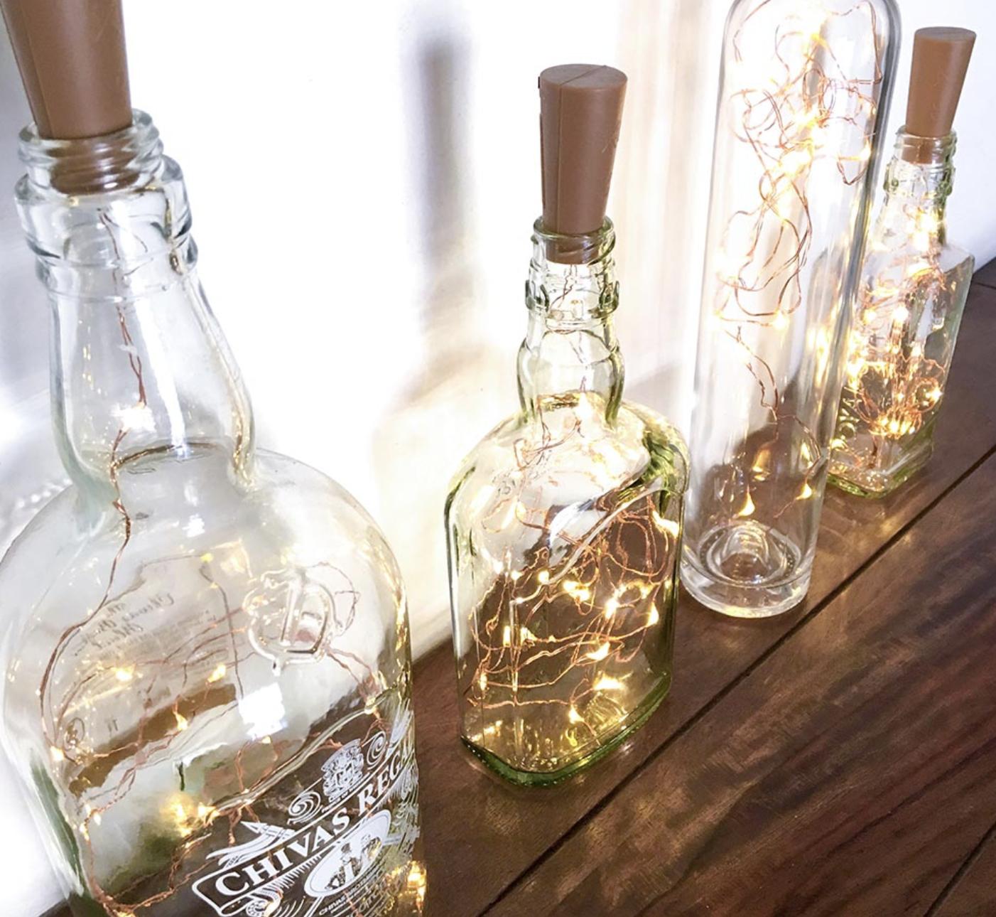 fairy lights bottle decor