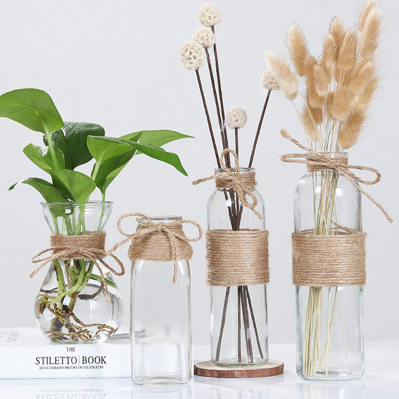 Elegant Nordic Glass Flower Vase With Rope design