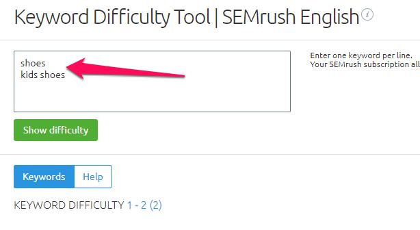 Độ khó của từ khóa với semrush