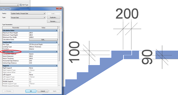 In This Type Of Stairs You Can Configure The Connection Method Between The  Run And The Landing To Be A Notch, Assuming That Both Components Are Sort  Of ...
