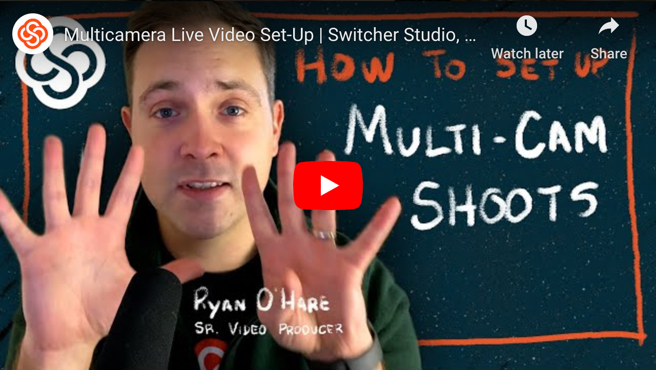 Switcher Studio multi-cam live video setup.
