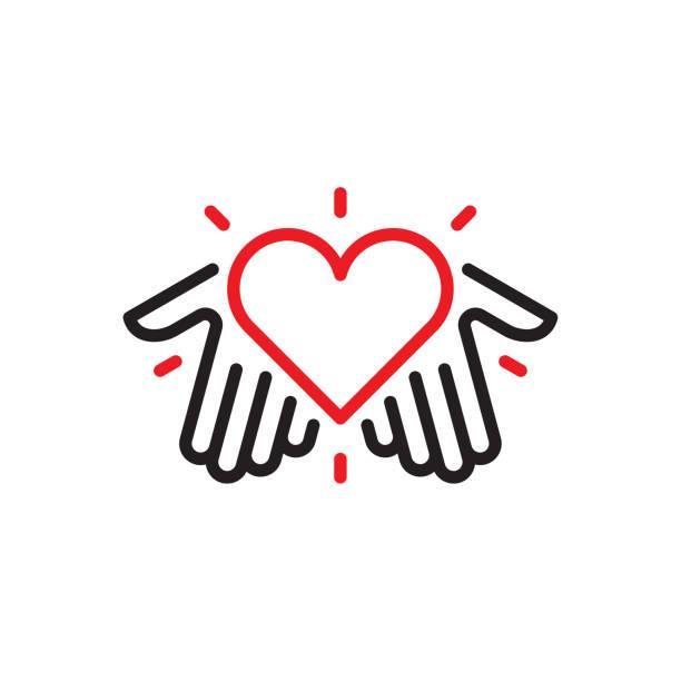 illustrations, cliparts, dessins animés et icônes de mains avec le logo de coeur - bénévole