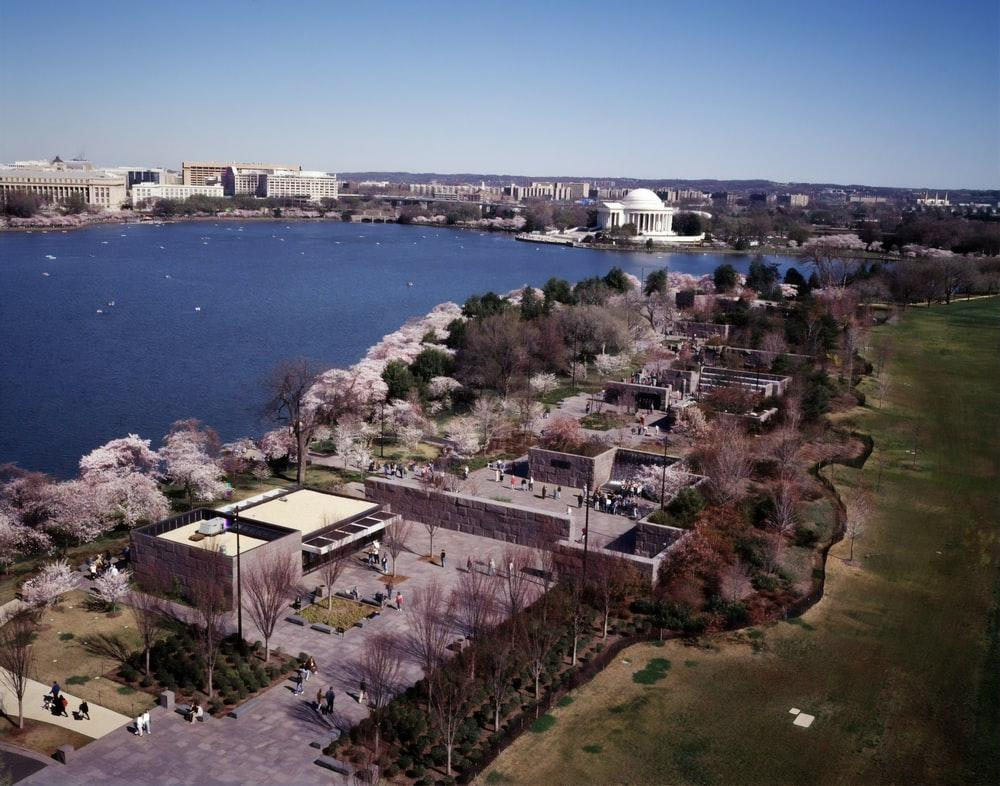 Aerial view of Washington, D.C. at Cherry Blossom Festival time