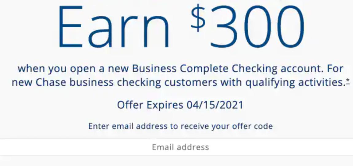 Chase business checking bonus $300
