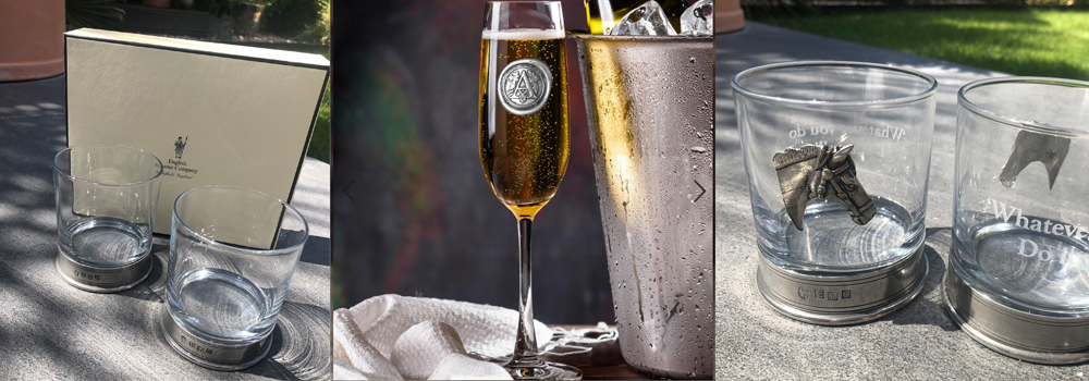 Beautiful personalised pewter glasses, champagne flutes, gin glasses, tumblers and more sold by The Sign Maker.
