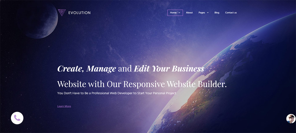 template de criador de site evolution universal business