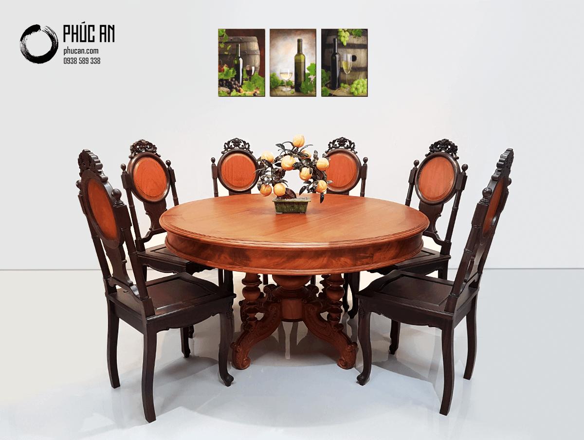Bộ bàn ăn gỗ Gõ mặt tròn 134cm + 6 ghế Chiêu Liêu (Chiu Liu)