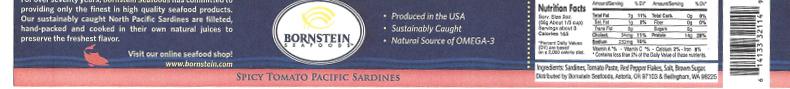 Label, Bornstein Seafoods Spicy Tomato Pacific Sardines
