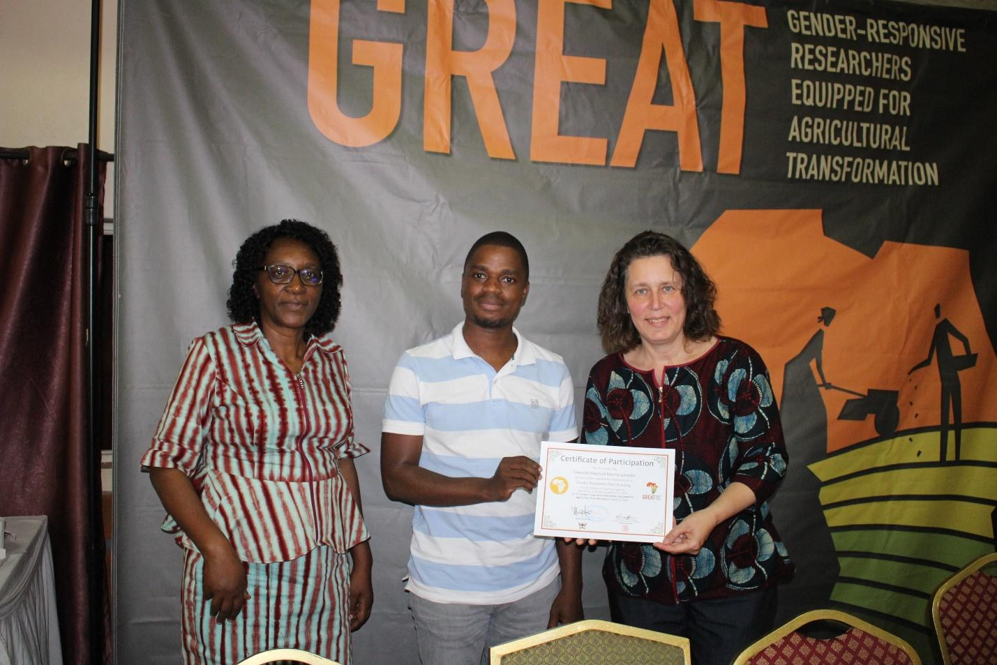 Above L-R: Assoc. Prof. Margaret Najjingo Mangheni, Makerere University; Tawanda Mashonganyika, a participant from the Excellence in Breeding Platform; and, Dr. Christine Leuenberger, Cornell University, during the certificate award ceremony.
