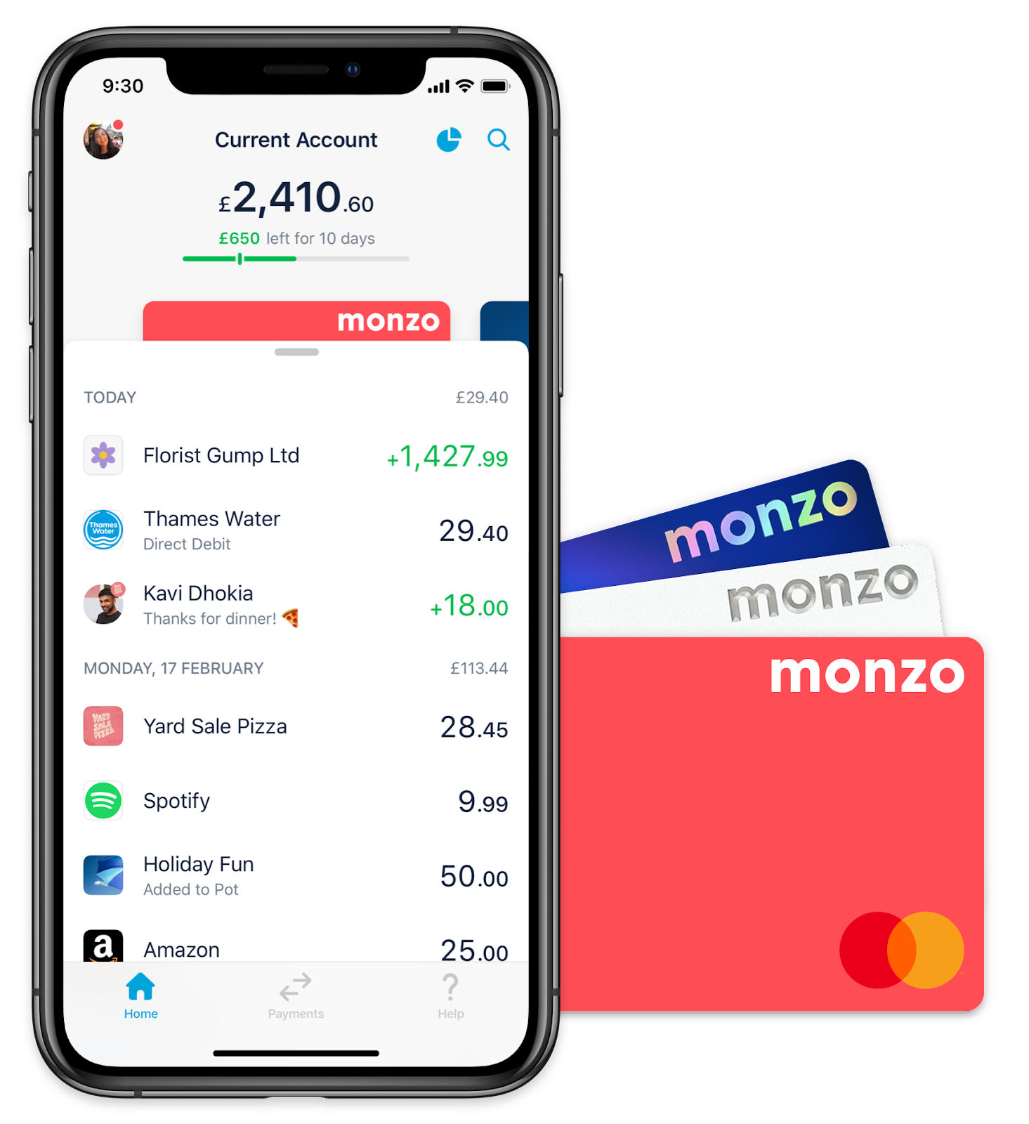The Monzo app and Monzo cards.
