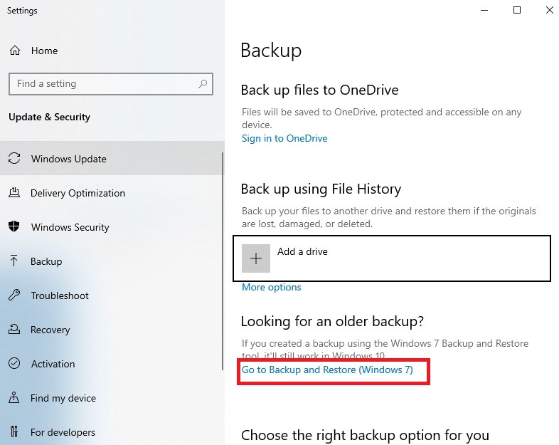 """click the """"Go to Backup and Restore (Windows 7)"""" connection while in the Backup settings."""