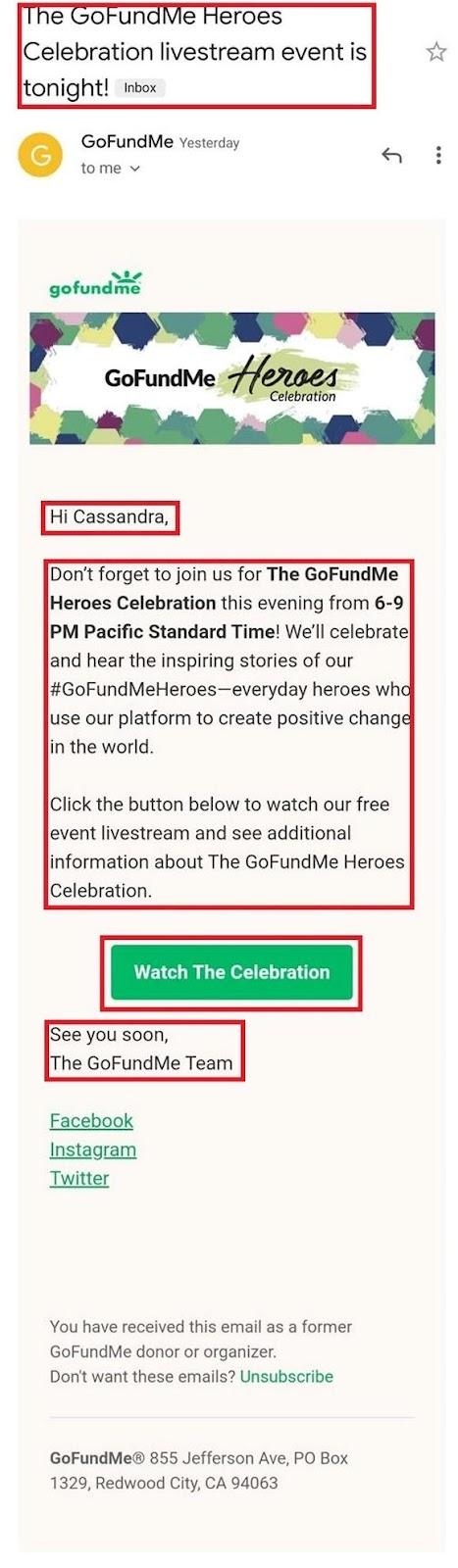 GoFundMe email example