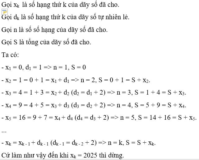 Liệt kê, đếm số số hạng và tính tổng