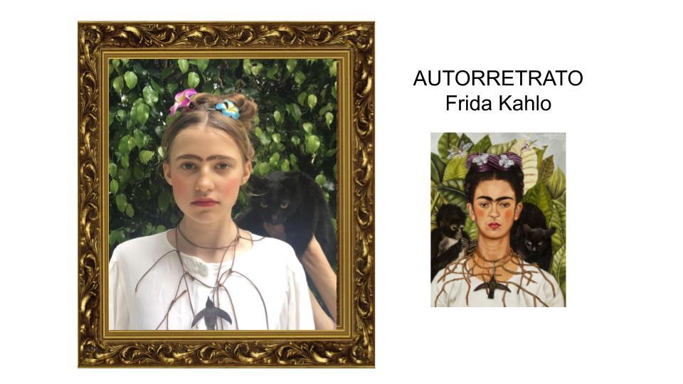 Representar obras de arte durante el confinamiento, como esta alumna con el autorretrato de Frida Kahlo.