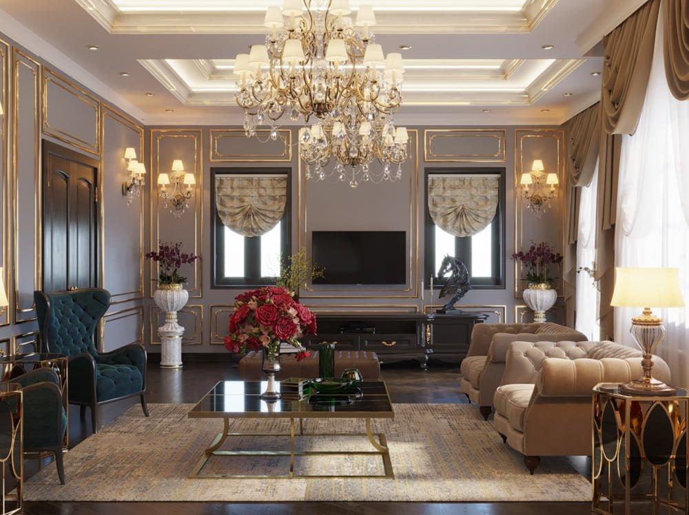 Phòng khách thiết kế theo phong cách cổ điển