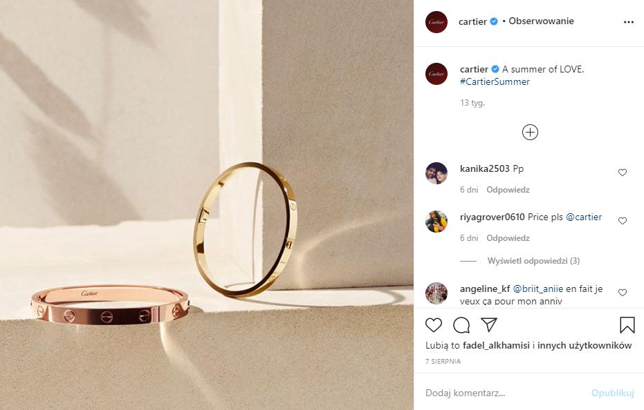 """Marketing w branży jubilerskiej - bransoletki """"love Bracelet"""" (screen)"""