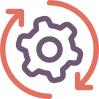Circular gear icon.