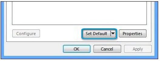 Click Set Default