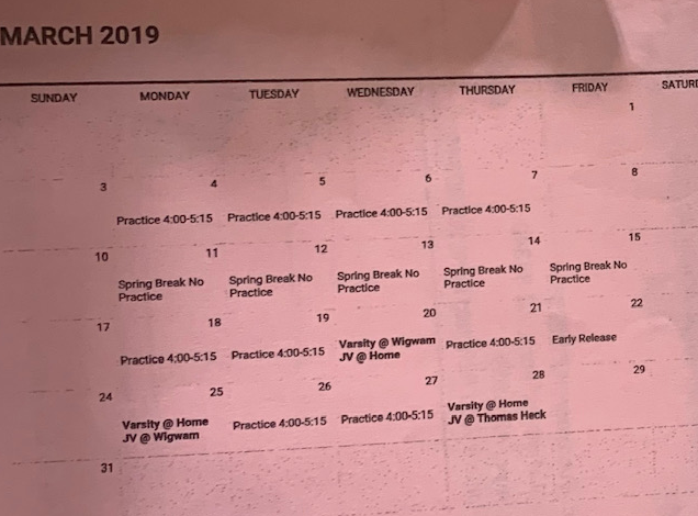 Schedule for March