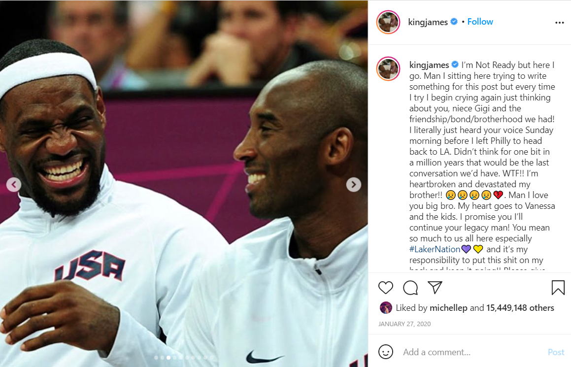Lebron's tribute post