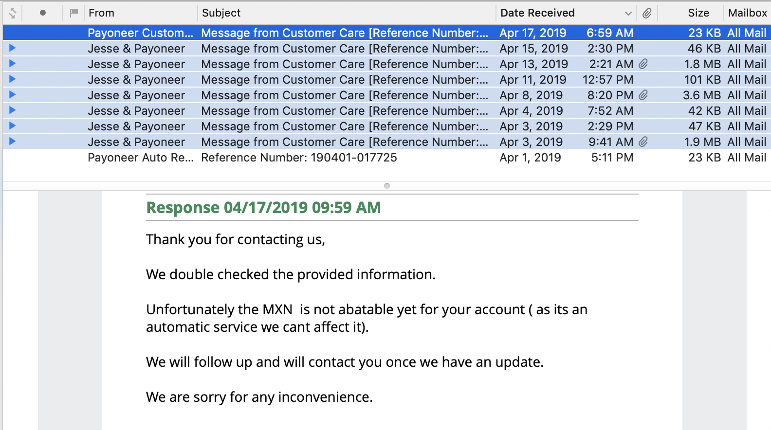 Customer Care Message