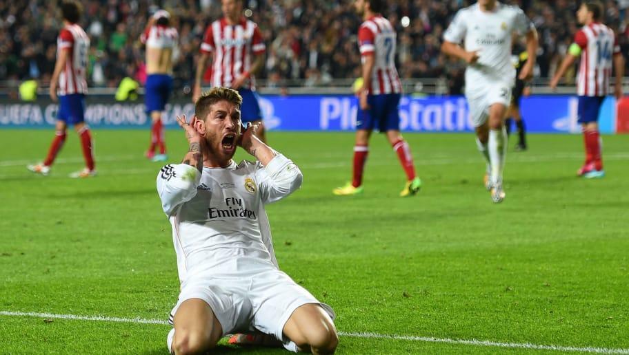 Sergio Ramos celebrando el gol que marcó en la final de la Champions de 2016 para provocar la prórroga.