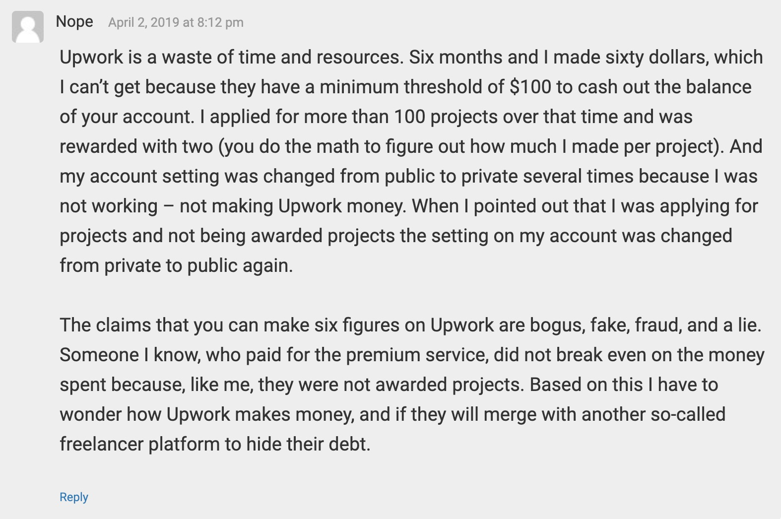 Upwork reviews - freelance example