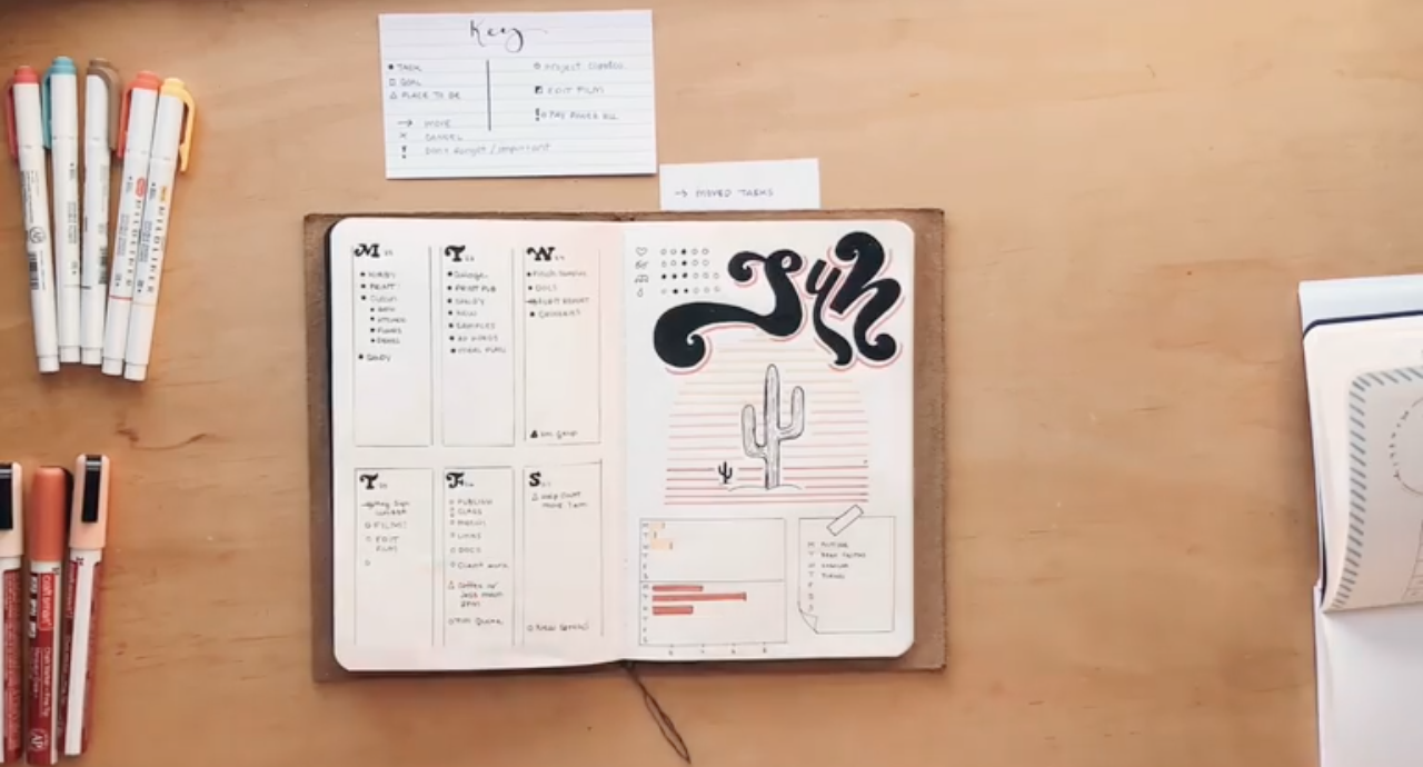 Your bullet journal can be filled with lists, doodles, notes, calendars, and more.