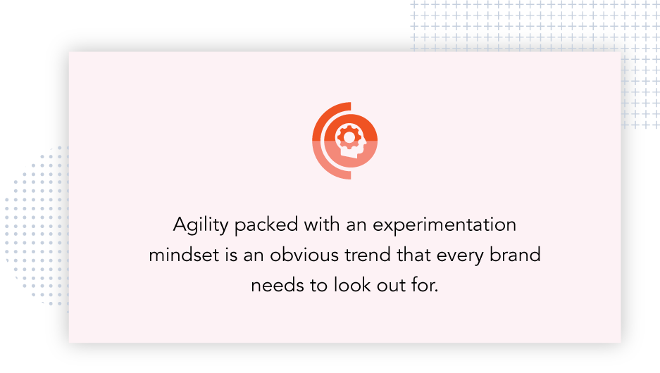 Agility packed with an experimentation mindset is an obvious trend