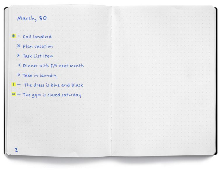 Спеціальне маркування, або різні типи булетів для ведення записів в Bullet Journal