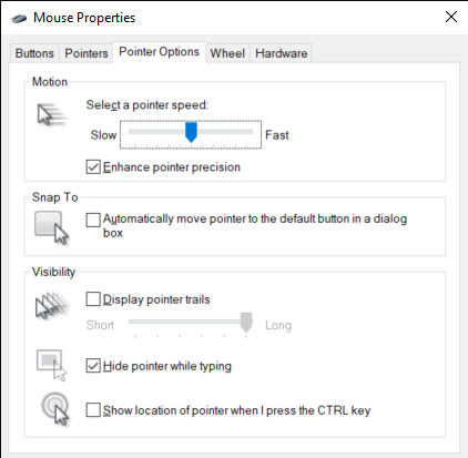 The Mouse Properties window, with the Pointer Options tab open