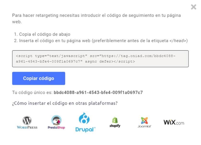 Oniad retargeting web