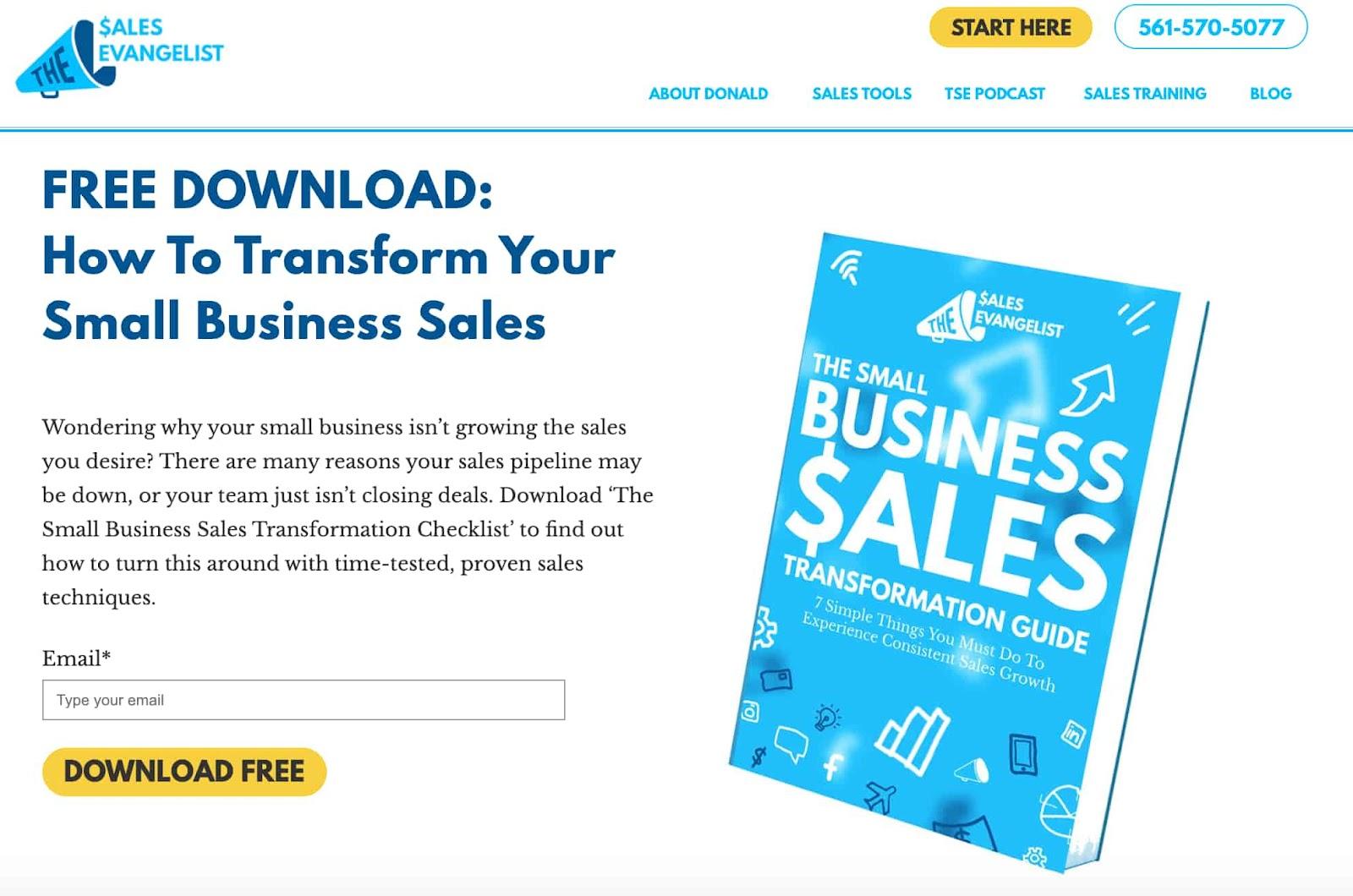 The Sales Evangelist ebook lead magnet