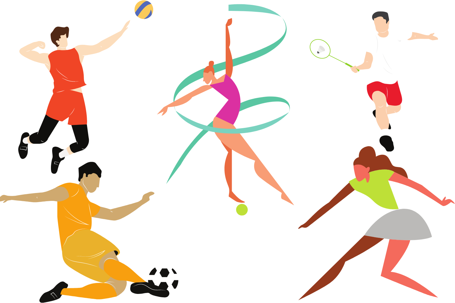 Different athletes performing sports