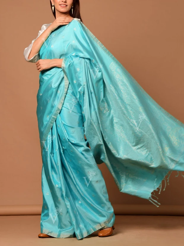 Aqua Blue Banarasi Silk Floral Botti Saree