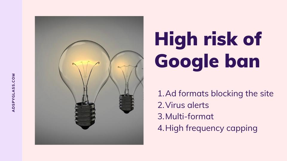 high risk of google ban