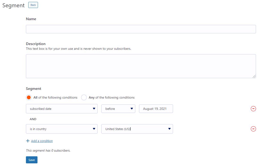 MailPoet contact segmentation