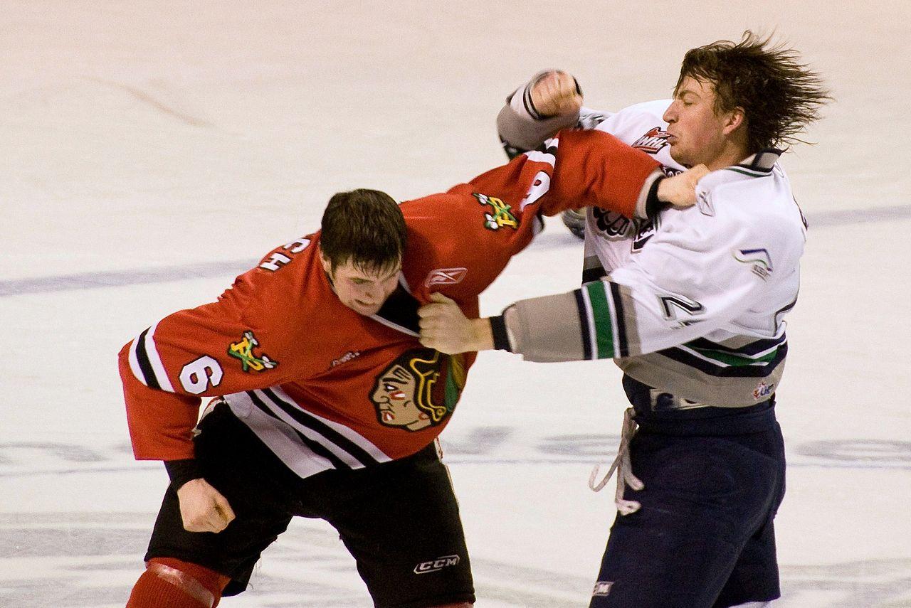Thực sự có một quy trình được thiết lập để chiến đấu trên sân khúc côn cầu trên băng