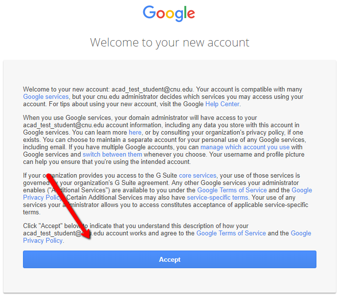 Google Welcome To New Account