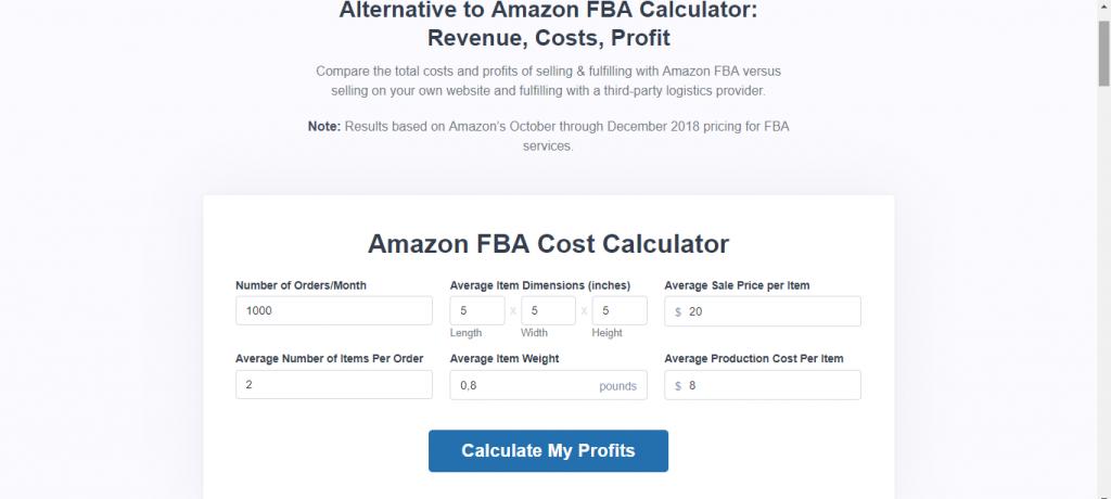 Shipbob Amazon FBA Calculator