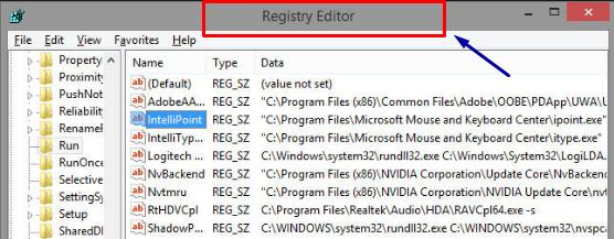 Open Registry Editor in Windows 10