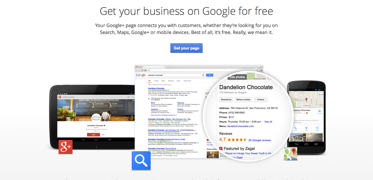 google plus local landing page