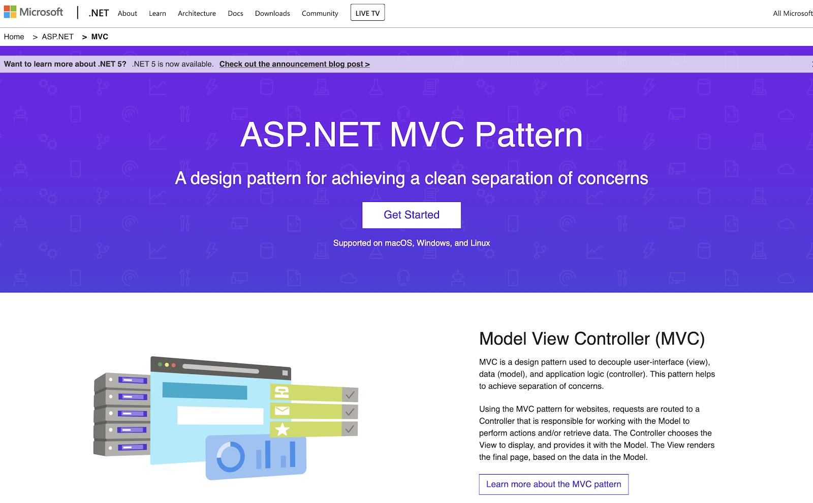 Screenshot of homepage — ASP.NET MVC Pattern