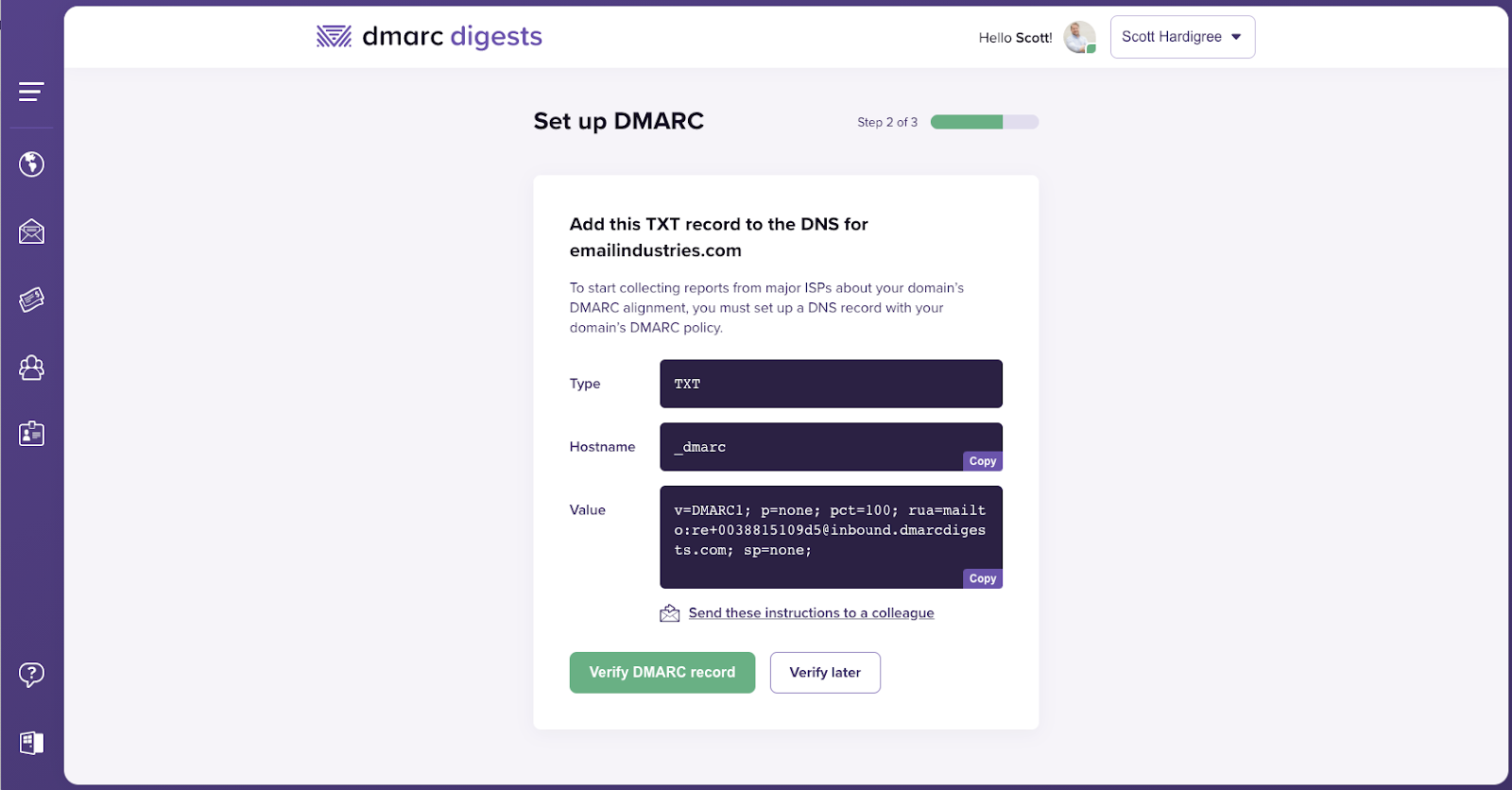 Set up DMARC: Step Two