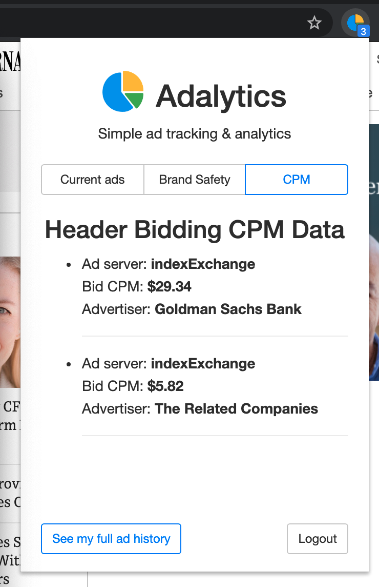 Screenshot of the Adalytics browser extension, showing CPM data on a specific website for Marcus by Goldman Sachs ads (among other ads).