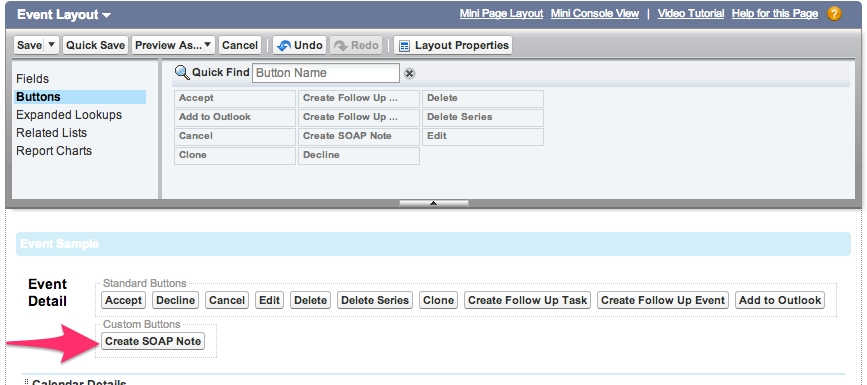 Drag Create SOAP Note Button To The Custom Buttons Box In Layout